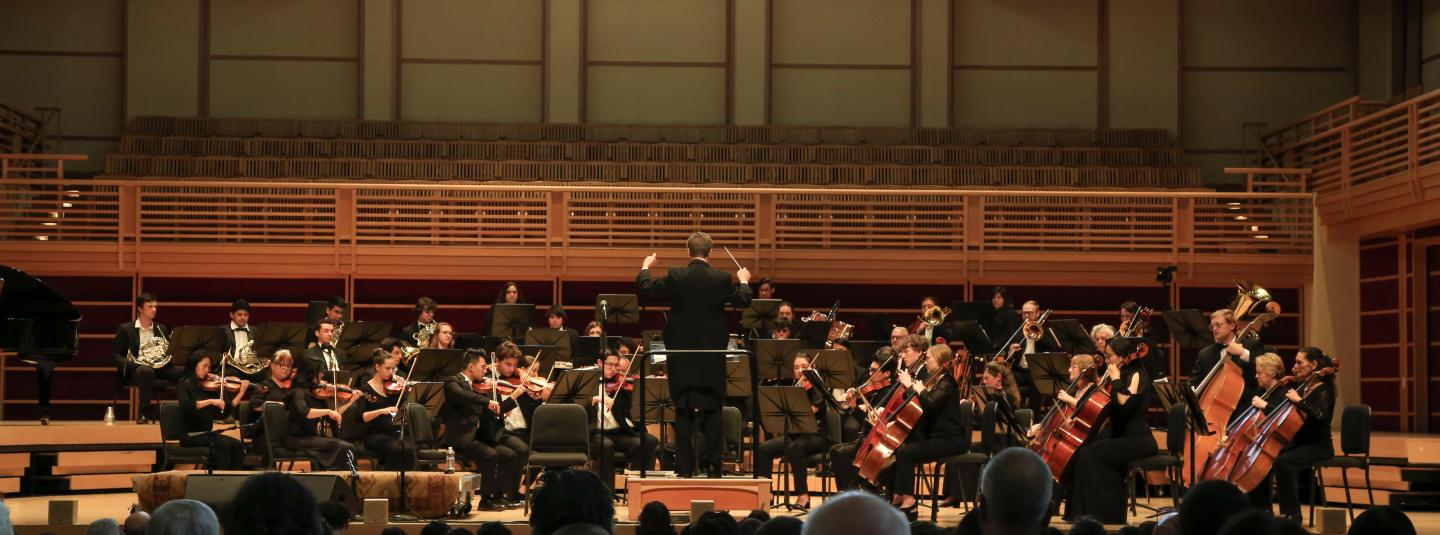Orchestra playing on stage with an audience