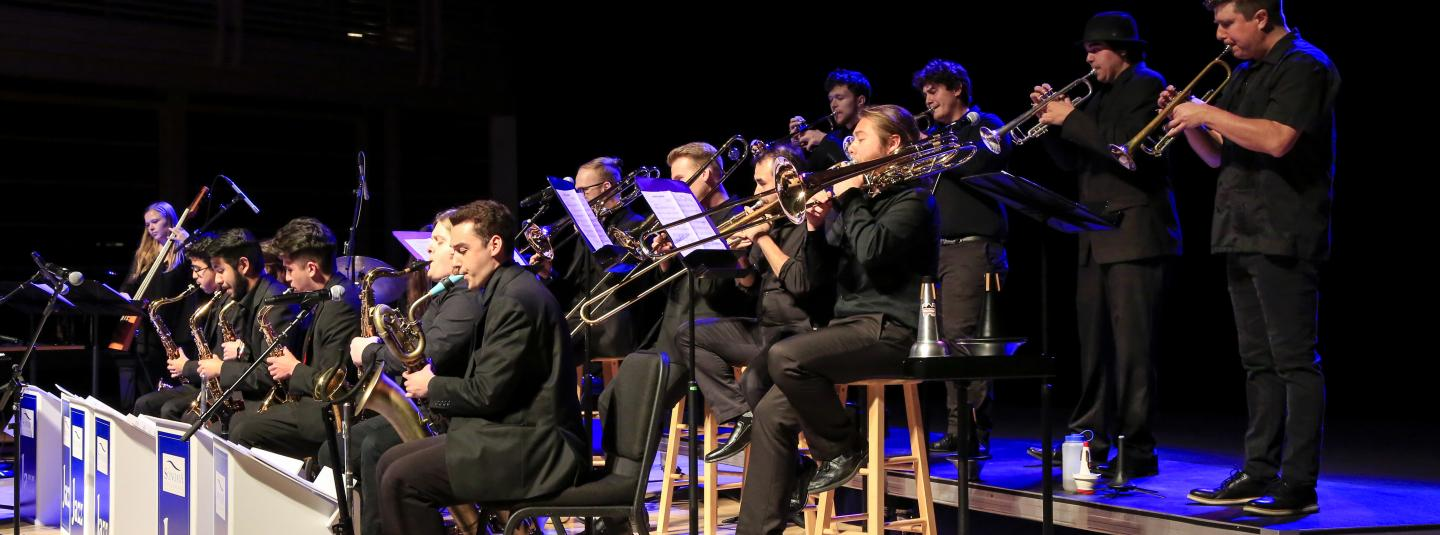 Jazz Orchestra from the side on stage