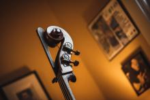 This is a photograph of the neck and top of a cello with some blurred art in the background