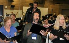 a group of voice students rehearse at Sonoma State University