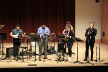 jazz band playing on Schroeder stage