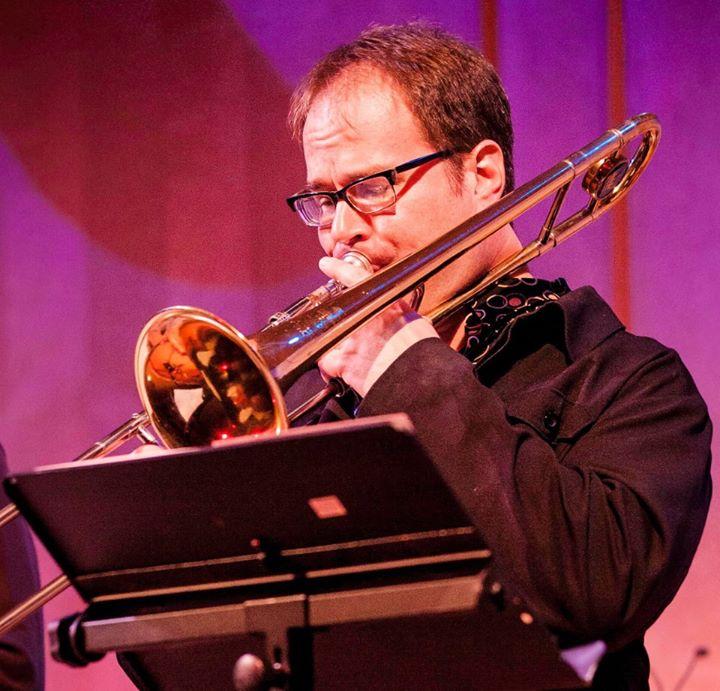 Doug Leibinger playing trombone