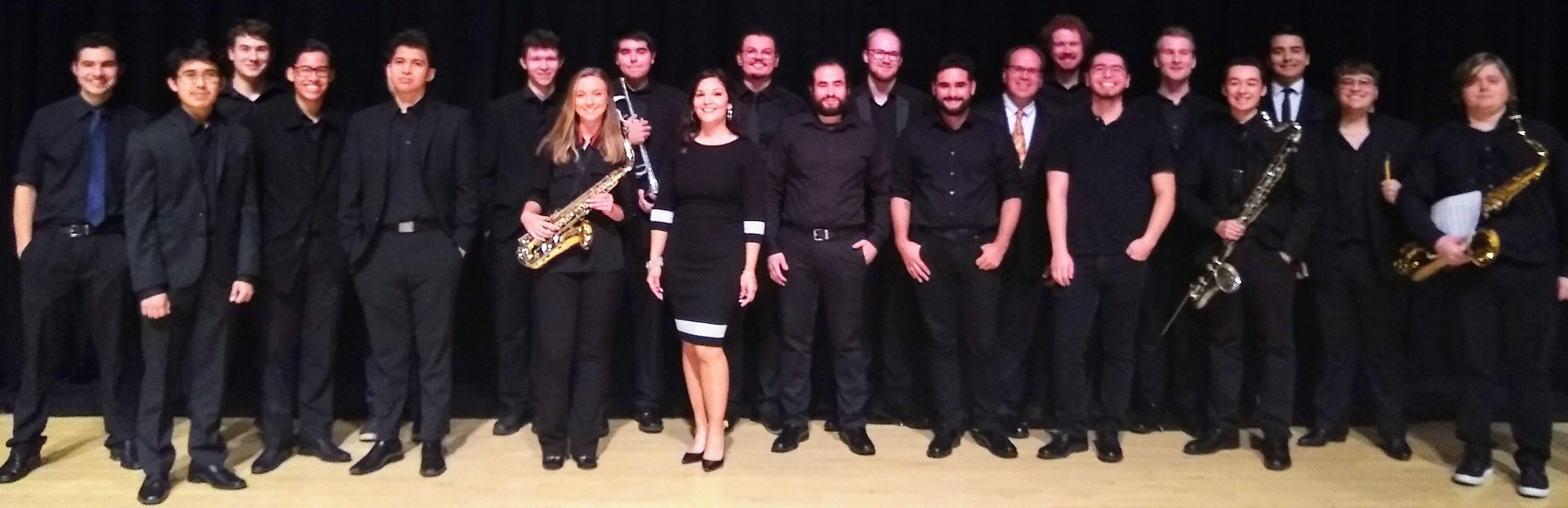 Jazz Band standing in a group and smiling