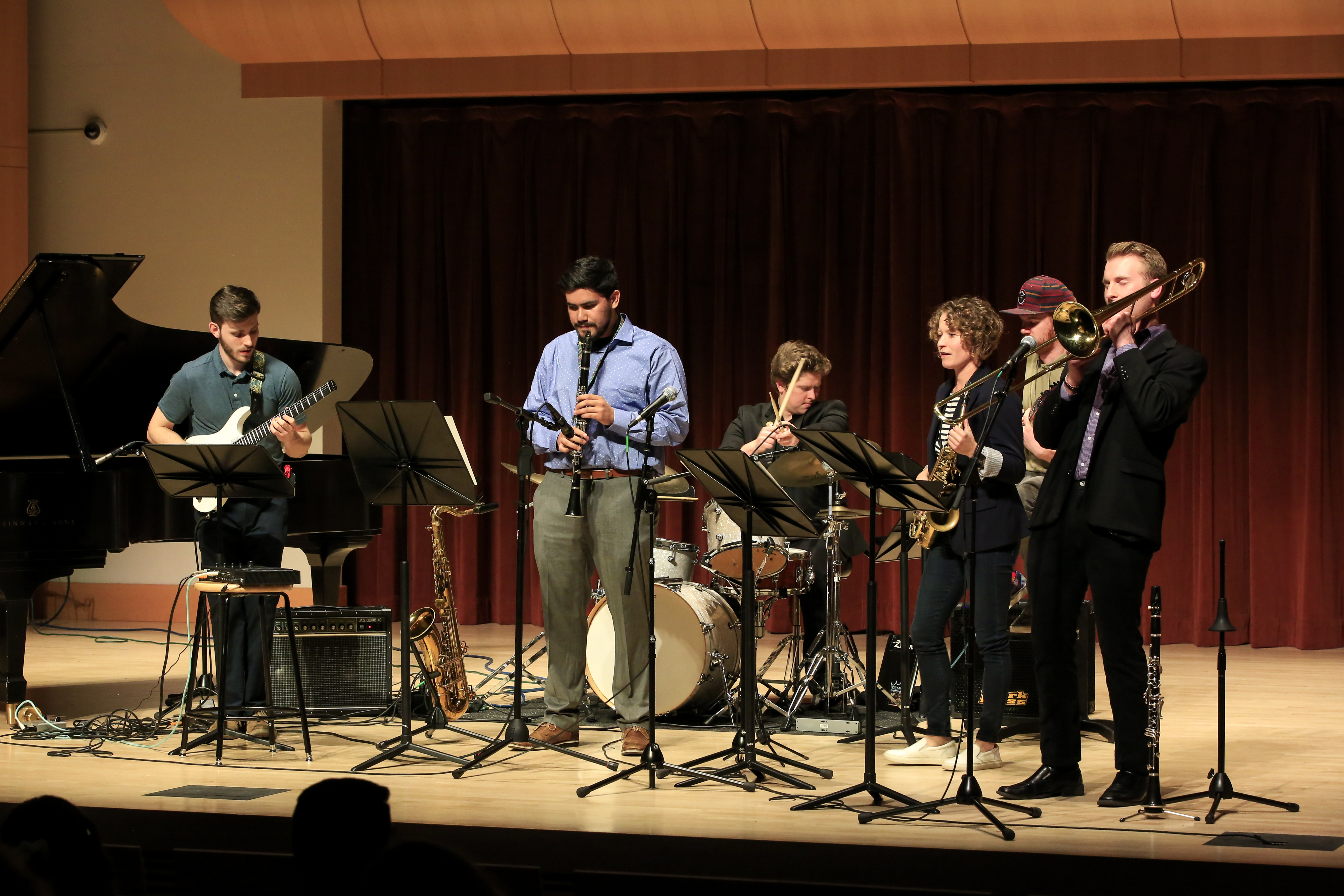 SSU Jazz Combo performing on stage of Schroeder Hall