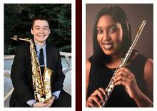 Matthew Bowker with saxophone and Isabella Grimes with flute headshots
