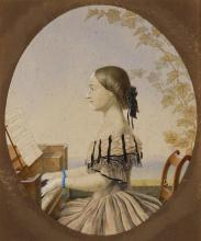 Painting of Clara Schumann at the piano