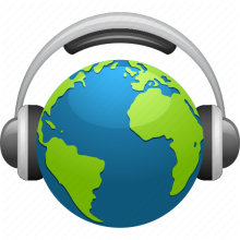 Cartoon Earth with headphones on