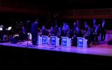 This is a photograph of the Sonoma State University Jazz Orchestra performing