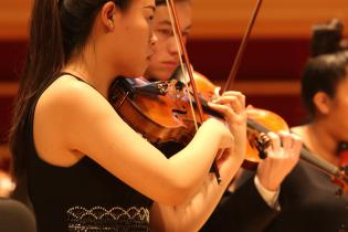 mid shot of two violinists performing in orchestra